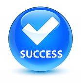 Success (validate icon) glassy cyan blue round button