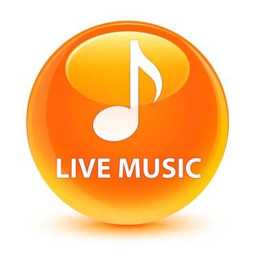 Live music glassy orange round button