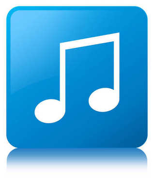 Music icon cyan blue square button