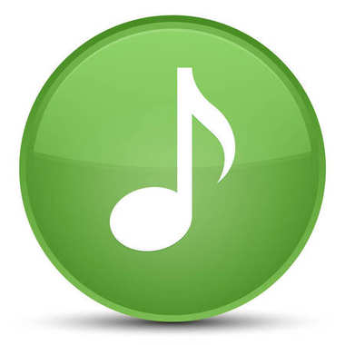 Music icon special soft green round button