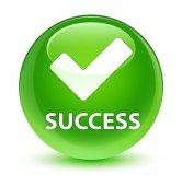 Success (validate icon) glassy green round button