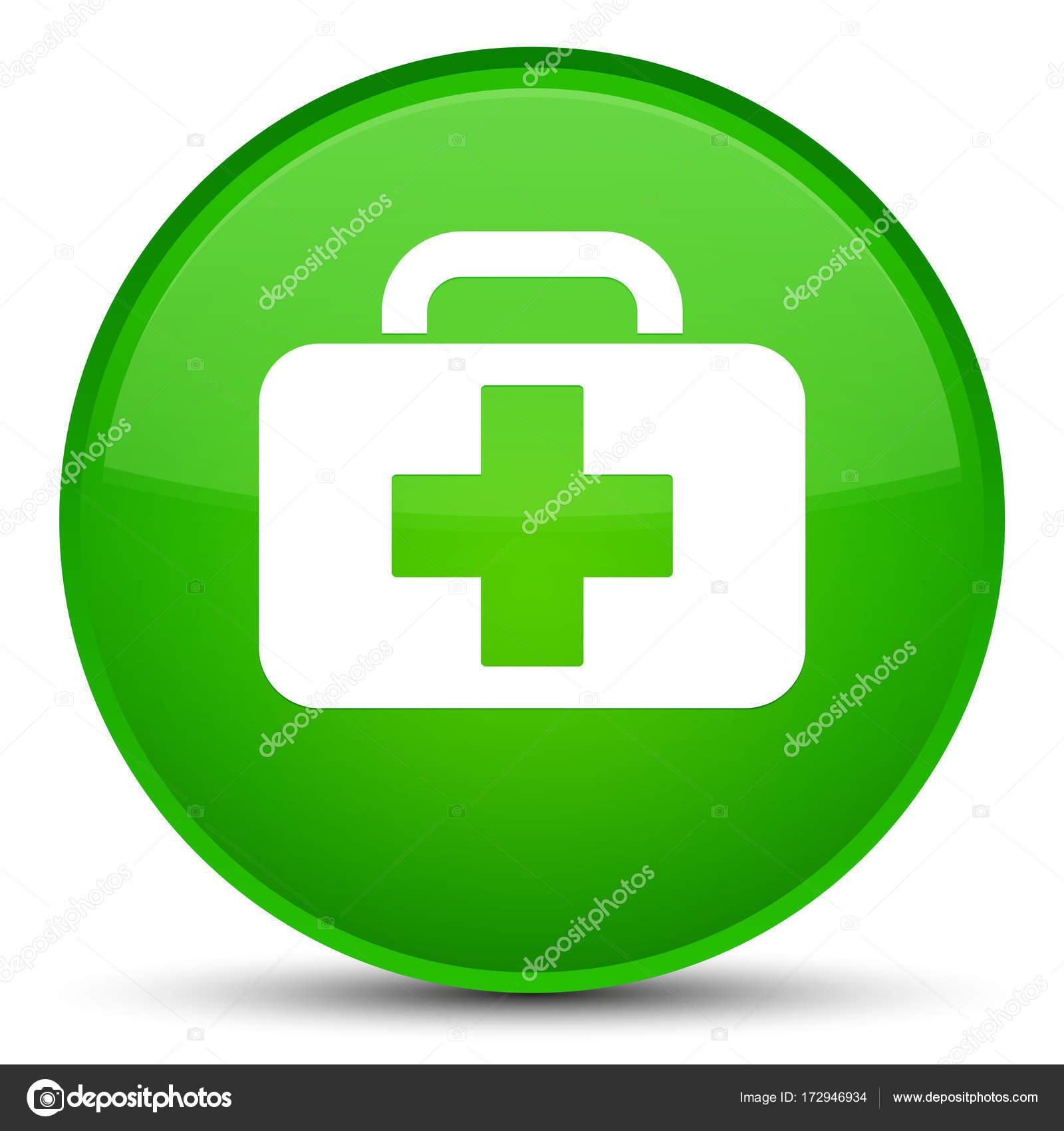 e10027737230 Orvosi táska ikonra különleges zöld kerek gomb — Stock Fotó ...