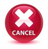 Cancel glassy pink round button