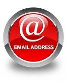 E-mailová adresa lesklé červené kulaté tlačítko