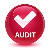 Audit (érvényesít ikon) üveges rózsaszín kerek gomb