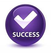 Success (validate icon) glassy purple round button