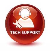 Technické podpory sklovité hnědé kulaté tlačítko