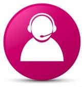 Zákaznické péče ikonu růžové kulaté tlačítko