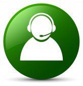 Zákaznické péče ikonu zelené kulaté tlačítko