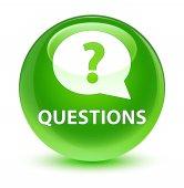 Kérdések (szövegbuborék-ikon) üveges zöld kerek gomb