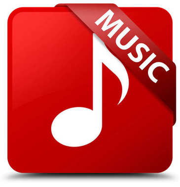 Music red square button red ribbon in corner