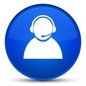 Zákaznické péče ikonu speciální modré kulaté tlačítko