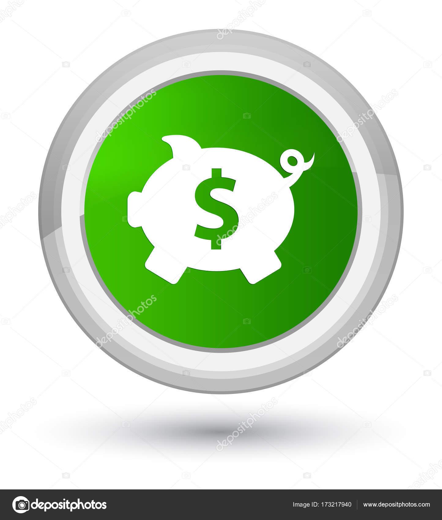 Piggy bank dollar sign icon prime green round button — Stock
