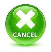 Cancel glassy green round button