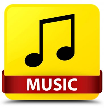 Music (tune icon) yellow square button red ribbon in middle