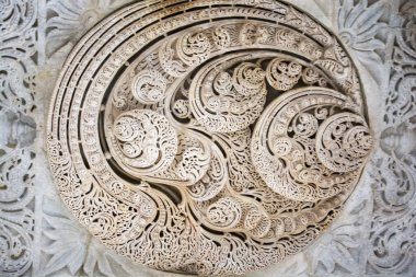 Carving on the roof of Jain Temple, ranakpur, Rajasthan.