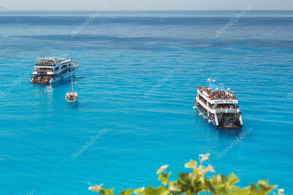 PORTO KATSIKI BEACH June 28,2017 Two tourist cruise ship