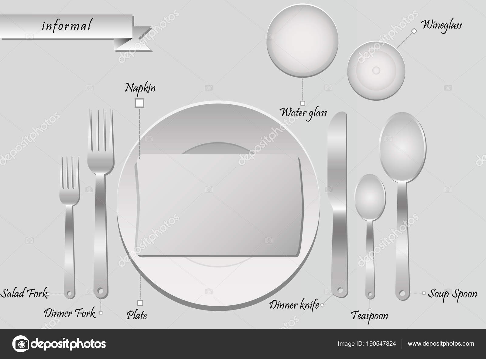 Plan Cutlery Table Grey Background Informal Table Setting U2014 Stock Vector