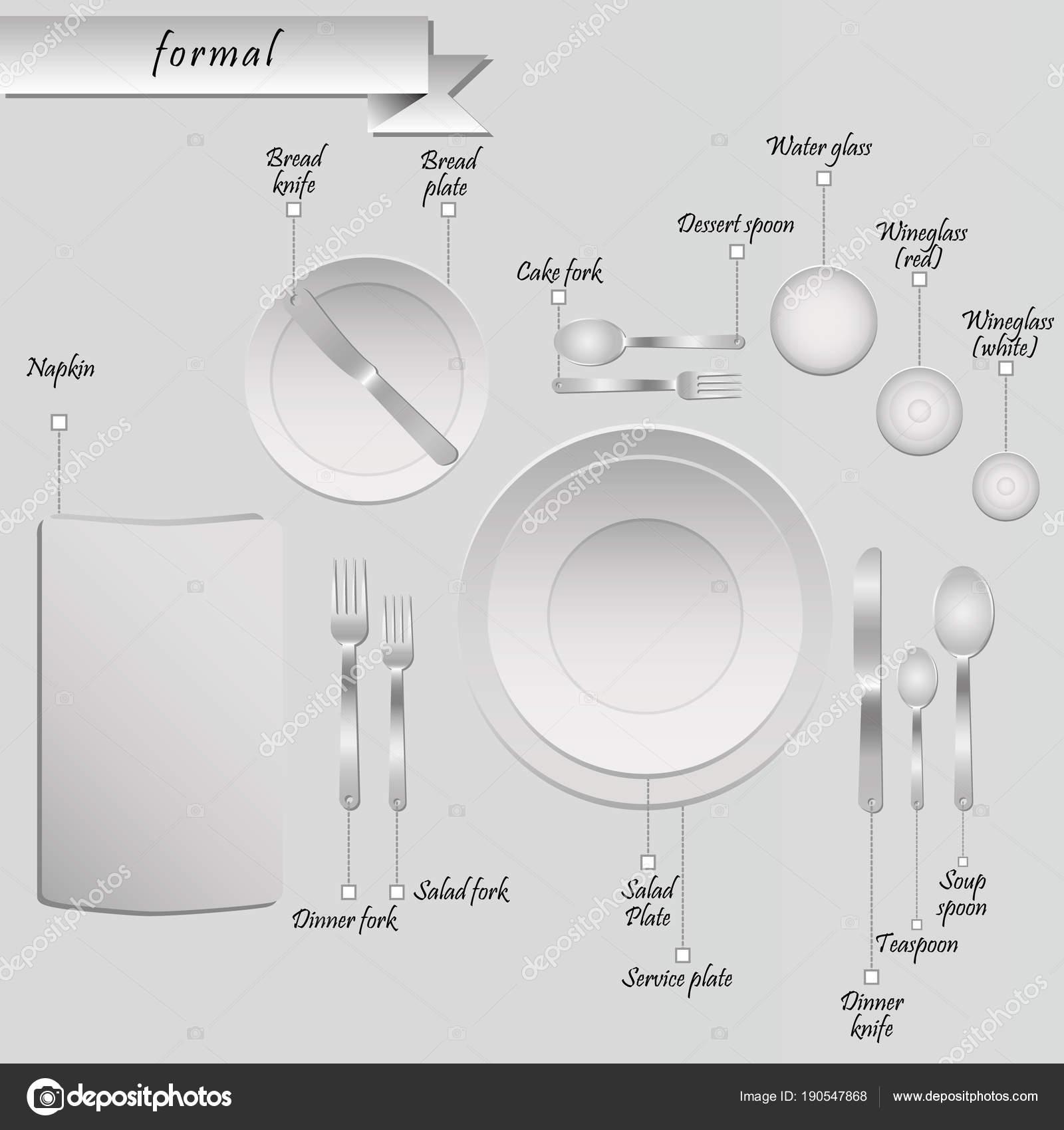 Plan Cutlery Table Grey Background Formal Table Setting u2014 Stock Vector  sc 1 st  Depositphotos & Plan Cutlery Table Grey Background Formal Table Setting u2014 Stock ...