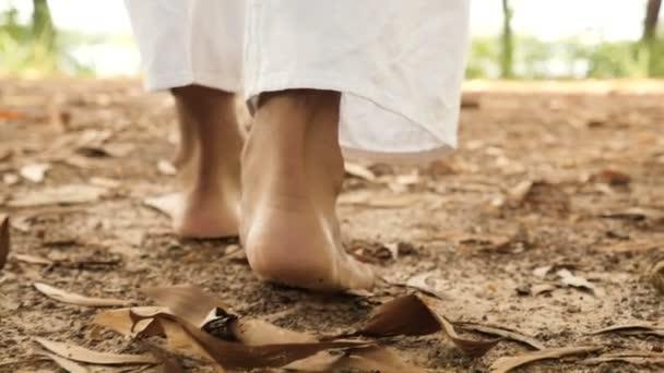 Slow motion of human walking on ground