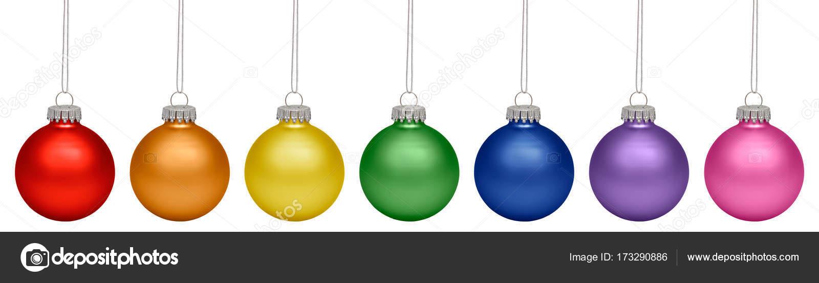 Kerstballen Alle Kleuren Van De Regenboog Geisoleerd Op Witte Ba