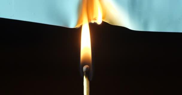 Makroaufnahme einer grünen Platte aus Polyvinylchlorid, die ausbrennt und auf der Flamme eines Streichholzes raucht, isoliert auf schwarzem Hintergrund. 4k 50 fps Zeitlupe