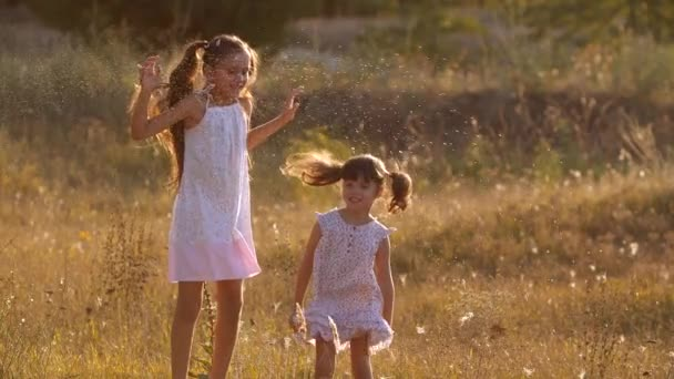 Two little pretty sisters, four and seven years old,  playing with splashes of water, jumping  in warm bright sunset rays in a meadow near a forest . Slow motion 200 fps