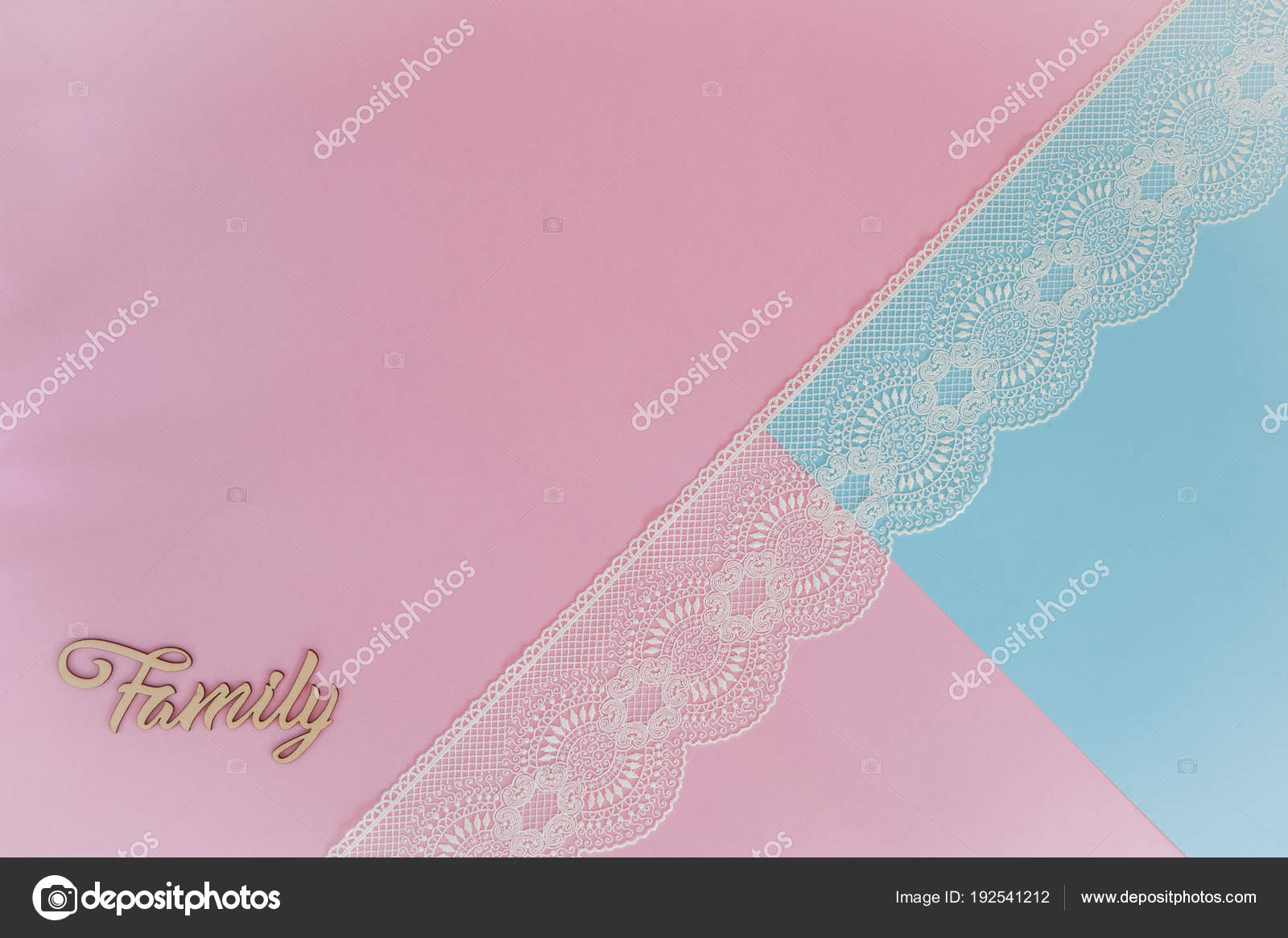light pink blue background lace wooden letters family template