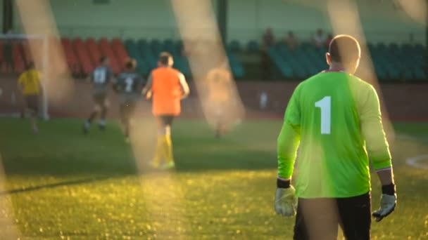 Goalkeeper walks in slow motion, rear view, team playing match, amateur championship, digit 1 on goalees T-shirt