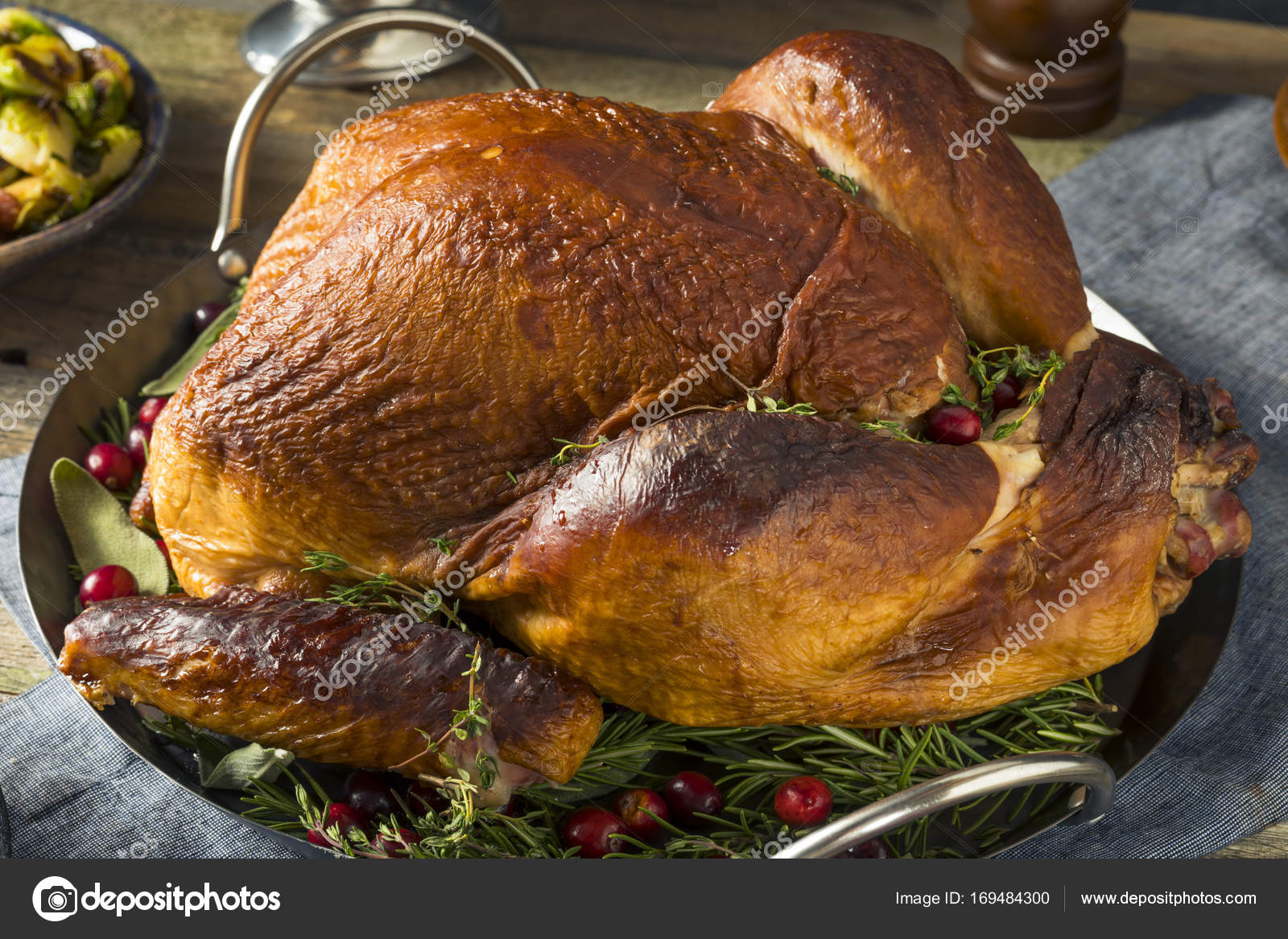 Organic Homemade Smoked Turkey Dinner For Thanksgiving With Sides Photo By Bhofack2
