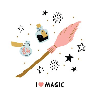 school of magic objects isolated - pink broom