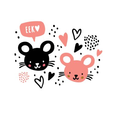 Hand drawn mouses faces with speech bubble eek