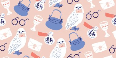 Seamless pattern: witches at school of magic set