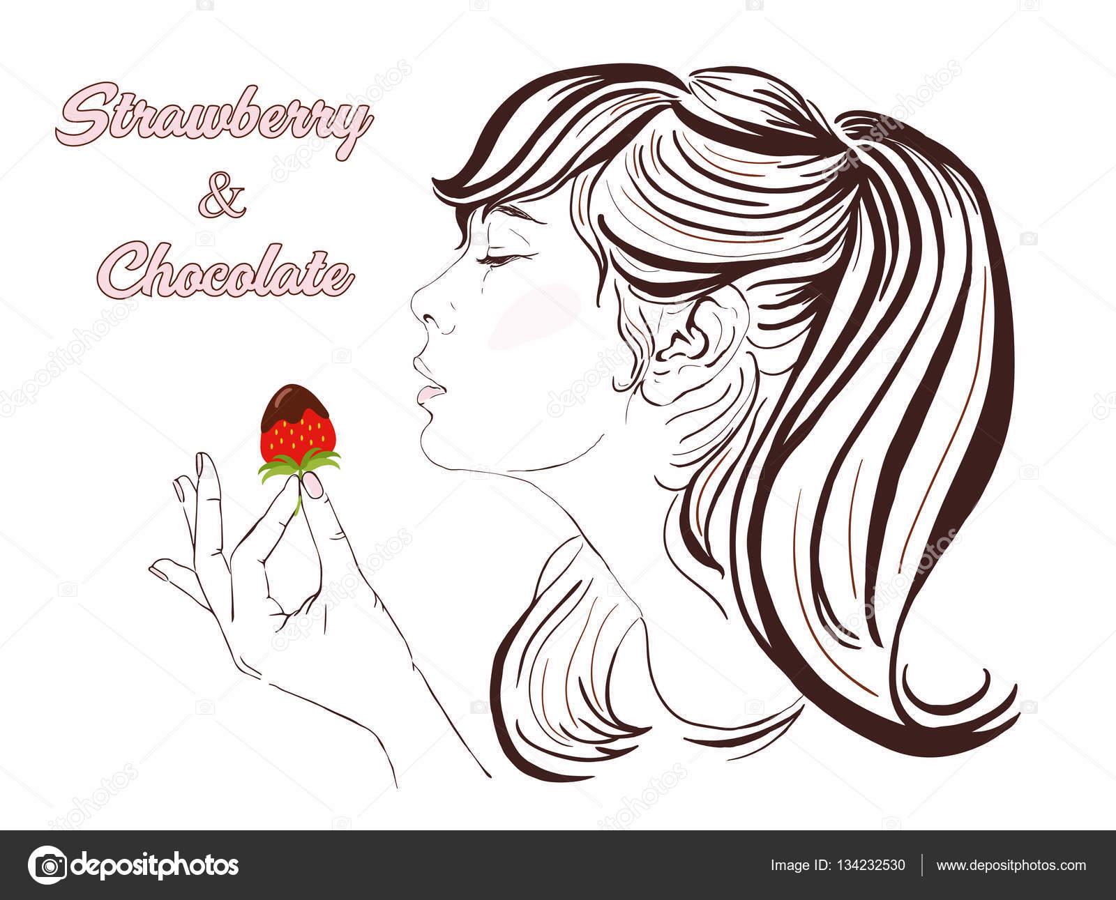 Chica guapa con el pelo largo comiendo fresa y chocolate ...