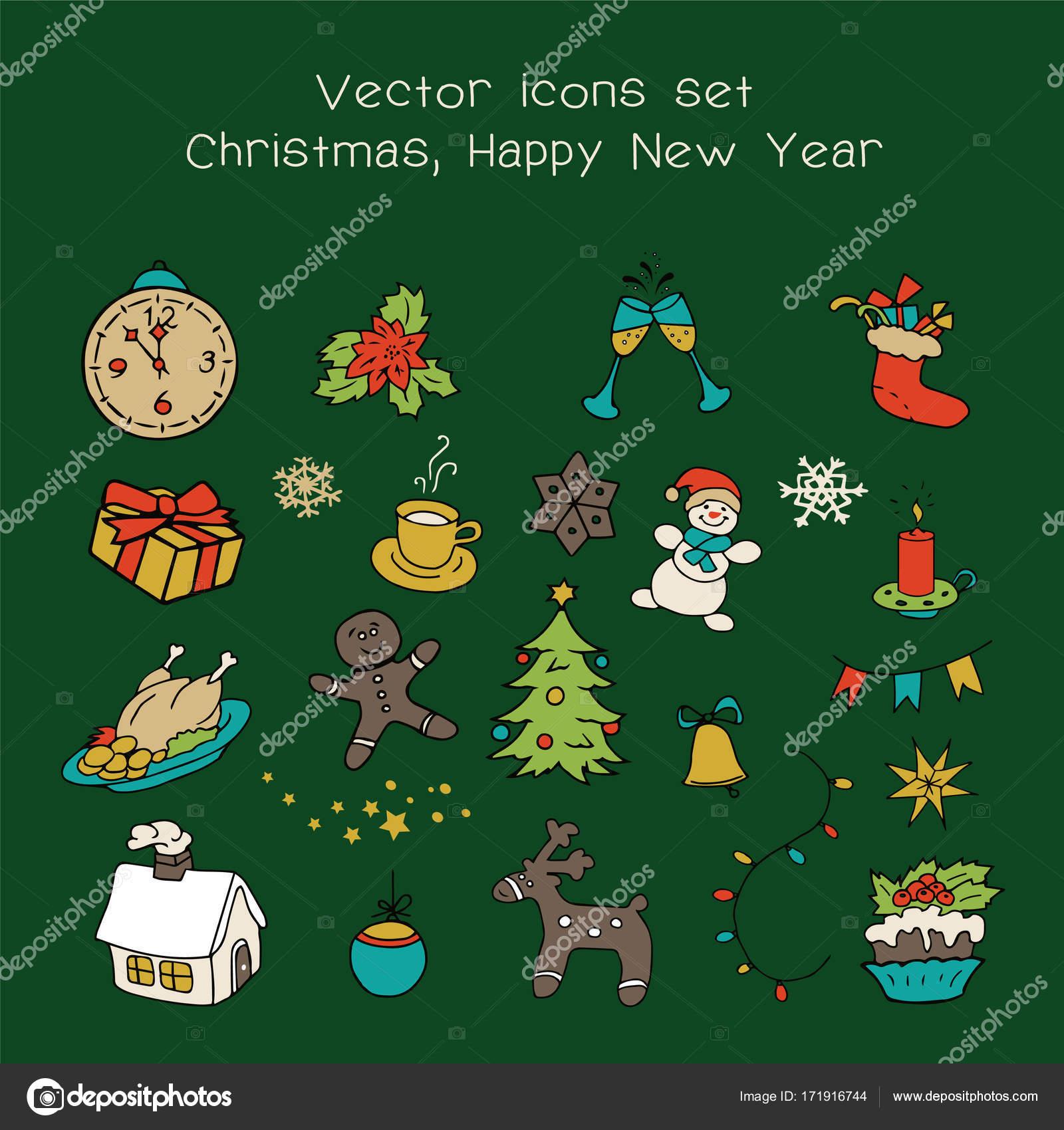 Christmas Holidays Icon.Christmas Holidays Icon Set Classic Hand Drawn New Year