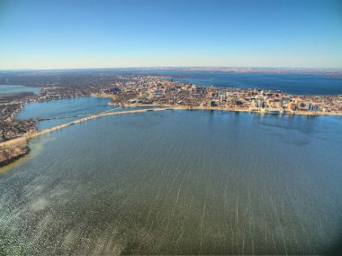 Madison, Wisconsin on a Sunny Day in Early Spring seen by Drone