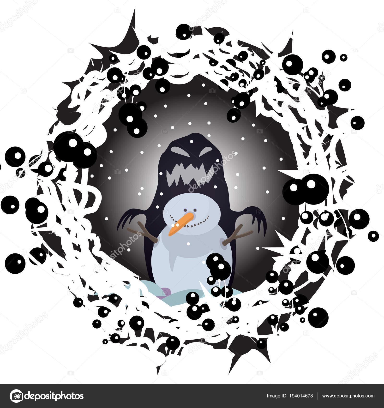 snowman night winter halloween character cartoon animation print