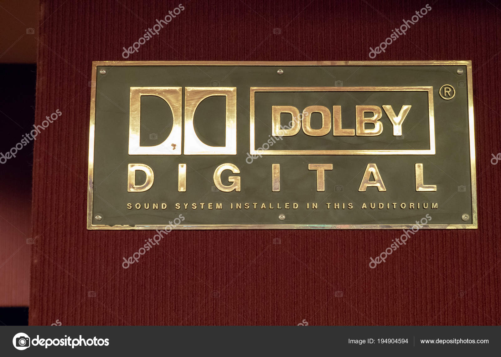 Dolby Digital logo outside of a movie theater – Stock