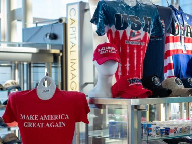 Gift shop filled with Republican, Trump support shirts and hats with Make America Great Again slogan