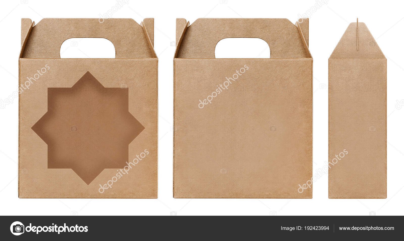 Box Brown Window Star Shape Cut Out Packaging Template Empty Stock Photo