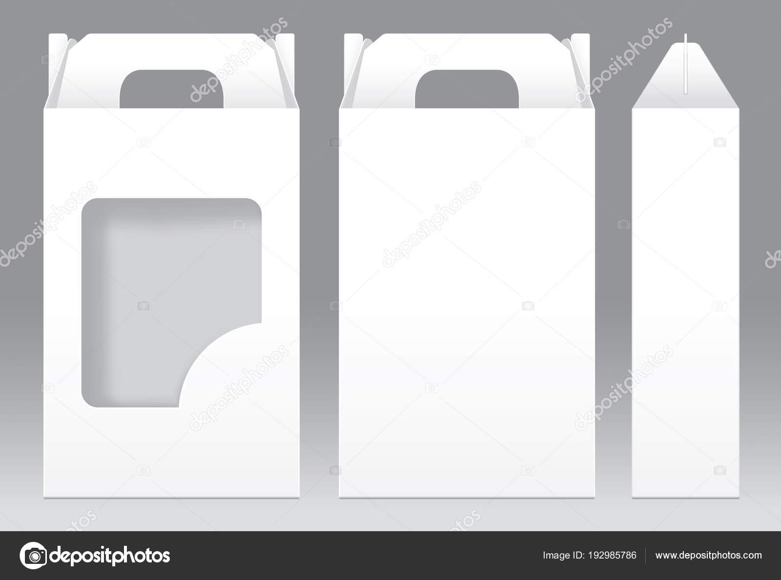 Alto blanco caja ventana corte empaque plantilla en blanco ...