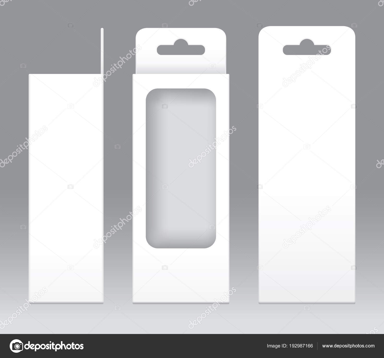 Hanging Box White window shape cut out Packaging Template blank ...