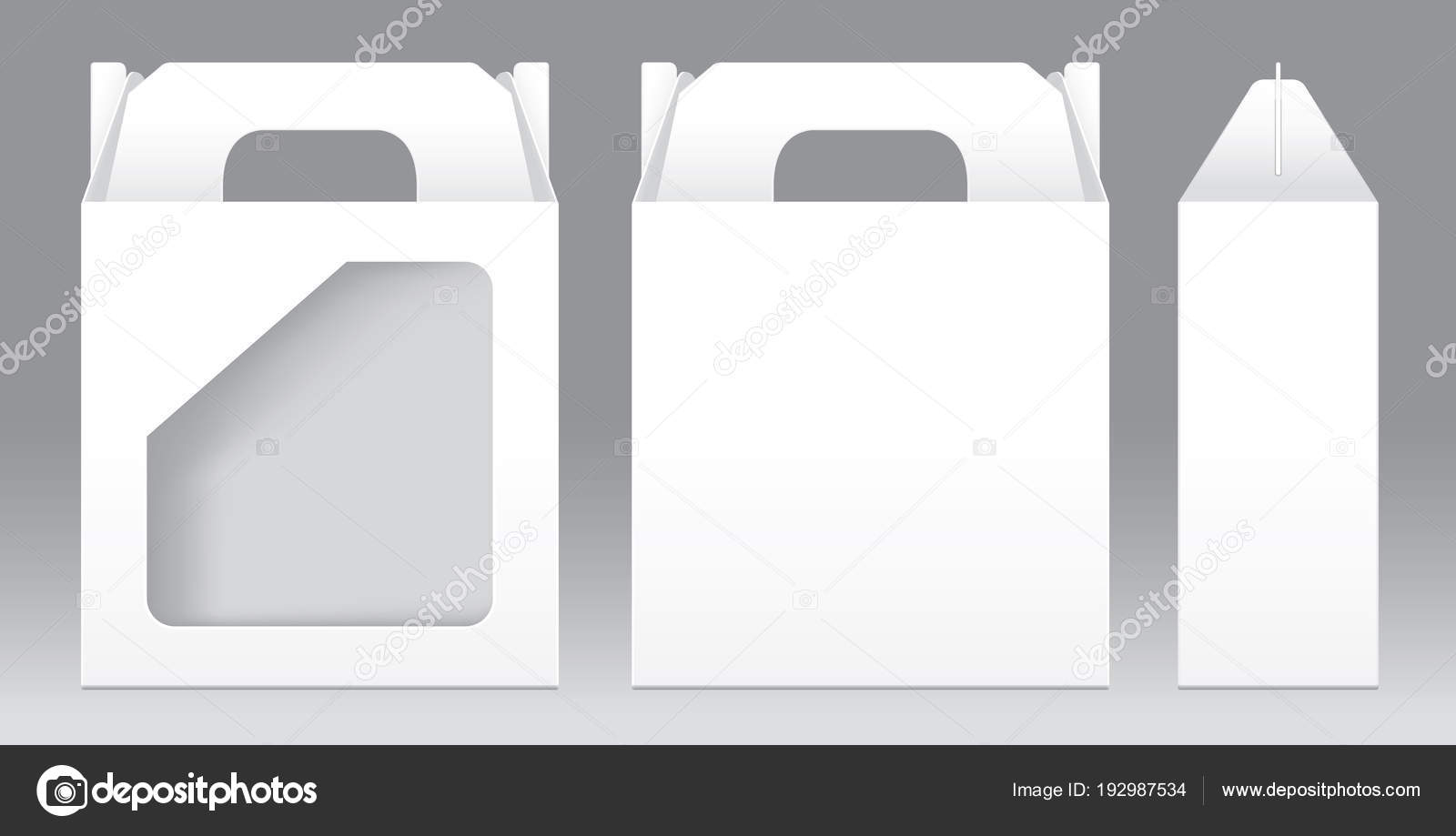 Box White Window Shape Cut Out Packaging Template Blank Empty For Design