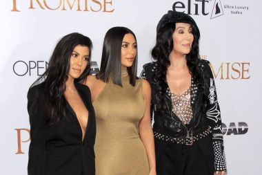 Cher with Kourtney and Kim Kardashian