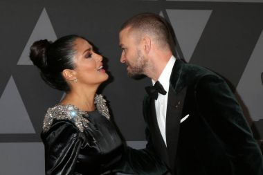Salma Hayek and Justin Timberlake at the AMPAS 9th Annual Governors Awards at Dolby Ballroom in Los Angeles, CA