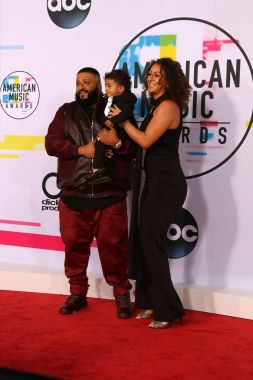 DJ Khaled, Asahd Tuck Khaled and Nicole Tuck at the American Music Awards 2017 at Microsoft Theater in Los Angeles, CA