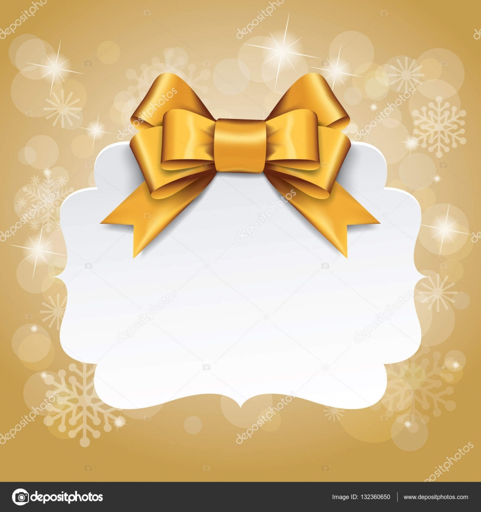 golden gift bows gift card with gold ribbon and satin gold bow