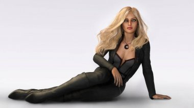 Beautiful Blonde Woman in Black Leather Seated