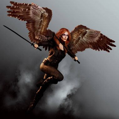 Avenging Angel with Swords and Red Hair