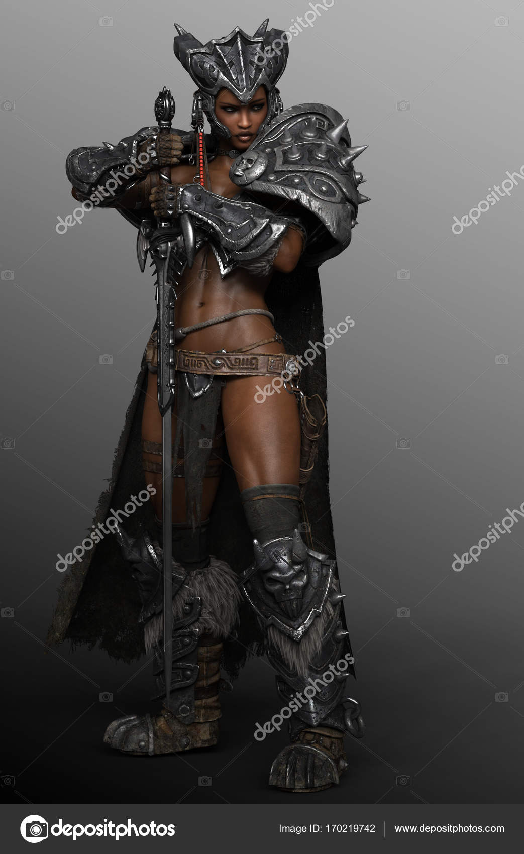 barbarian warrior woman queen in armor with sword stock photo